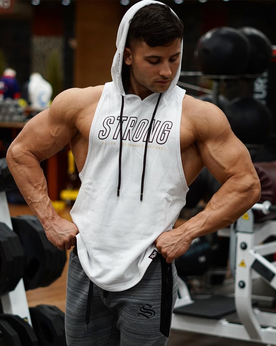 Boulder Sleeveless Hoodie - Strong - White