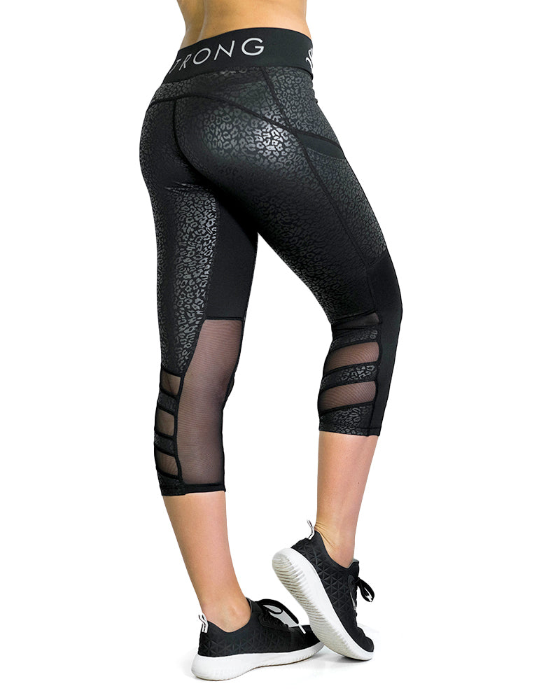 3/4 Compression Pants- Premier- Black Leopard