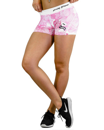 Womens Booty Shorts - Flower- Pink