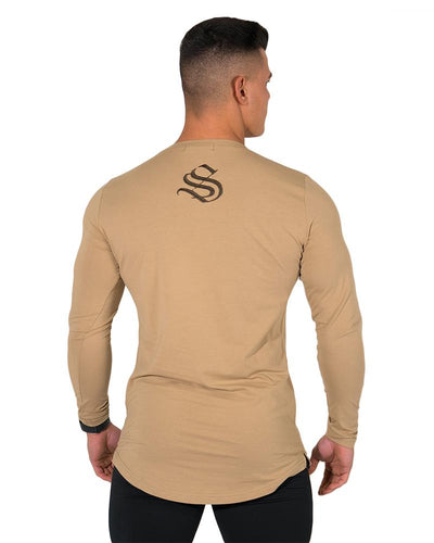 Longline Long Sleeve Tee- Khaki