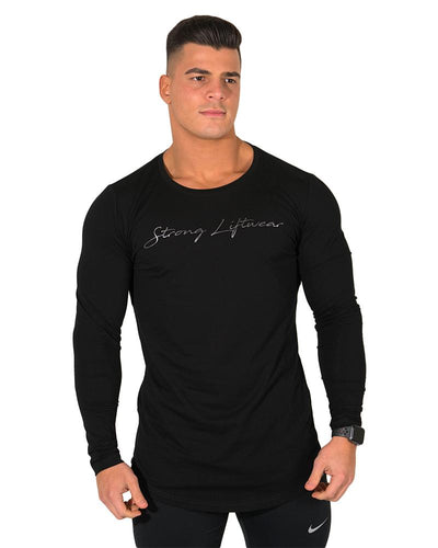 Longline Long Sleeve Tee - Black