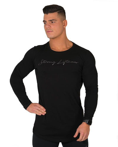 Longline Long Sleeve Tee- Black