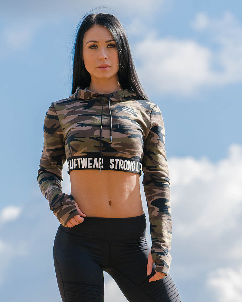 Ladies Long Sleeve Cropped Hoodie - Camo