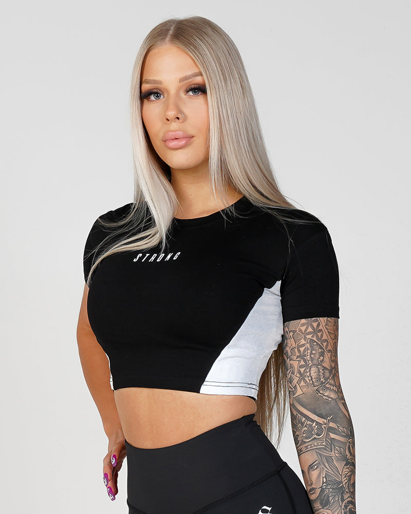 Womens Phoenix Crop Tee- Black & White