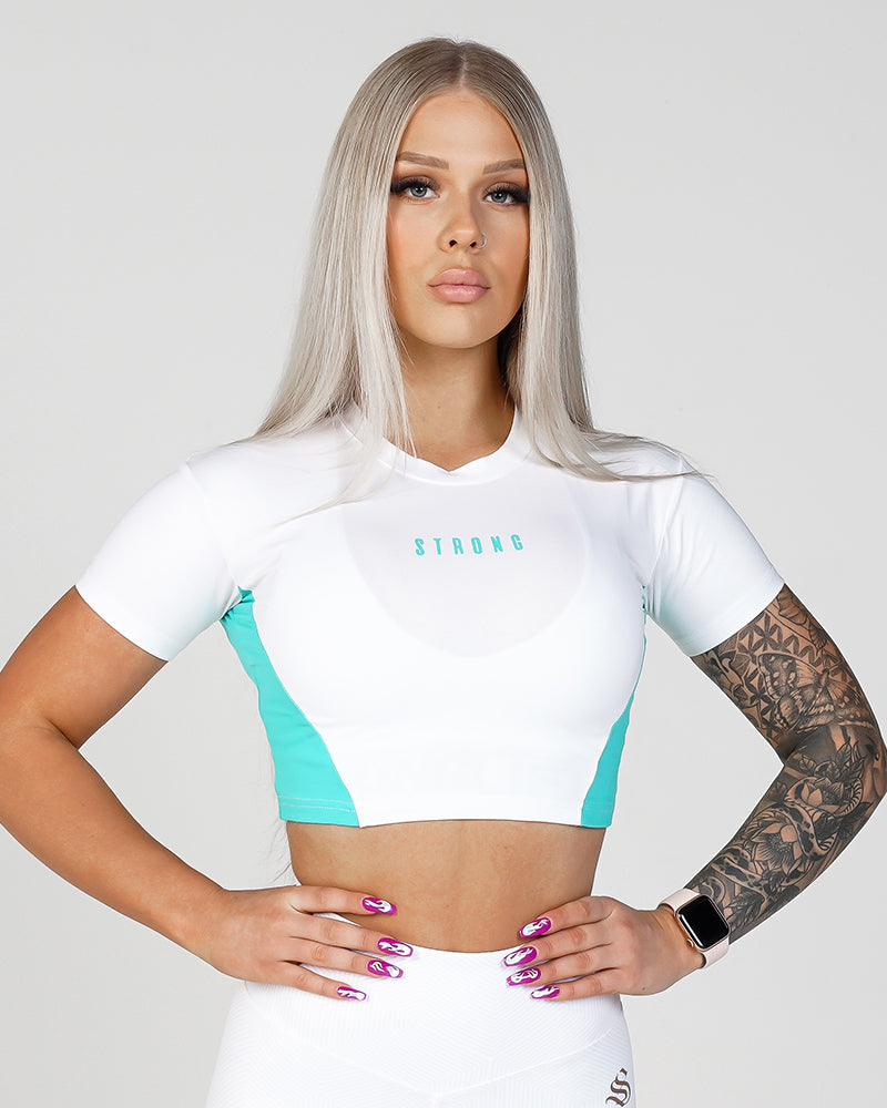Womens Phoenix Crop Tee - White & Teal