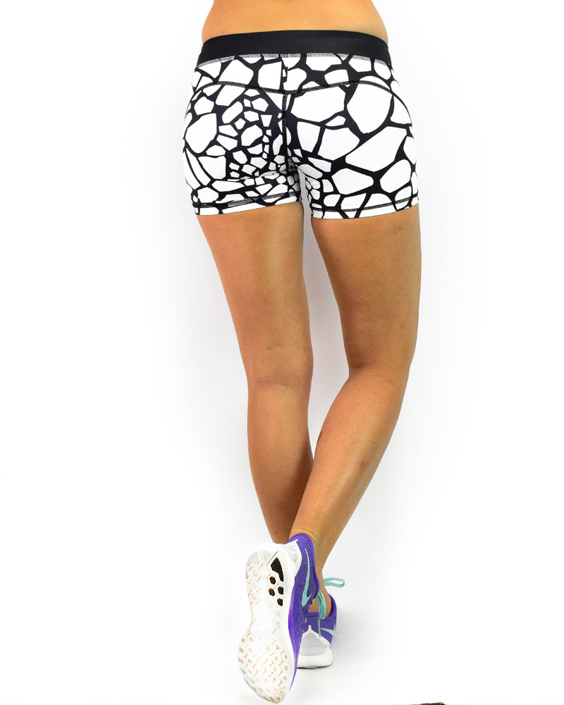 Womens Booty Shorts - Safari - White Giraffe