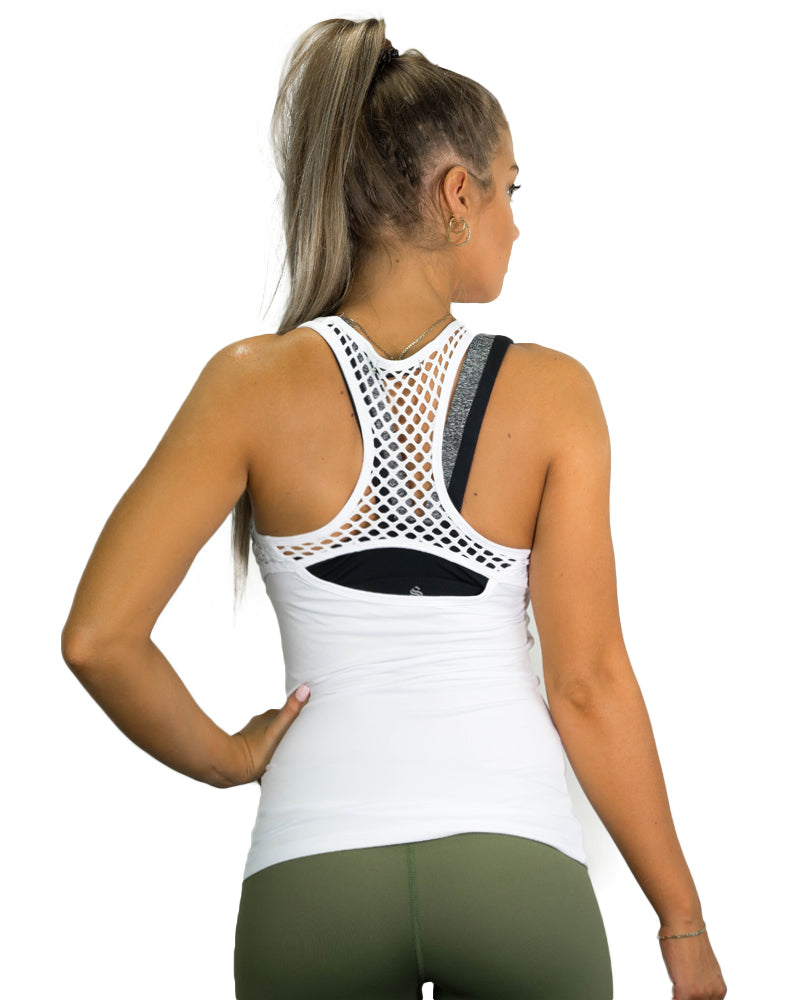 Ladies Active Racerback- Mesh White