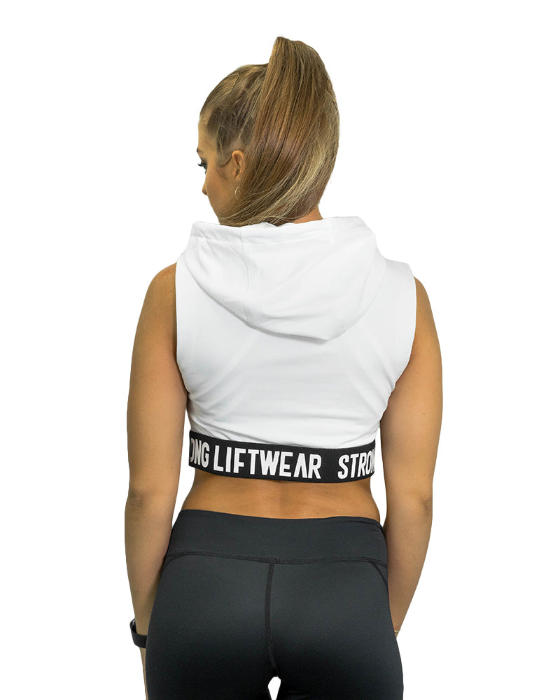 Ladies Signature Cropped Hoodie- White