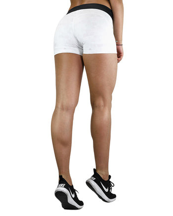 Womens Booty Shorts - Geo - White