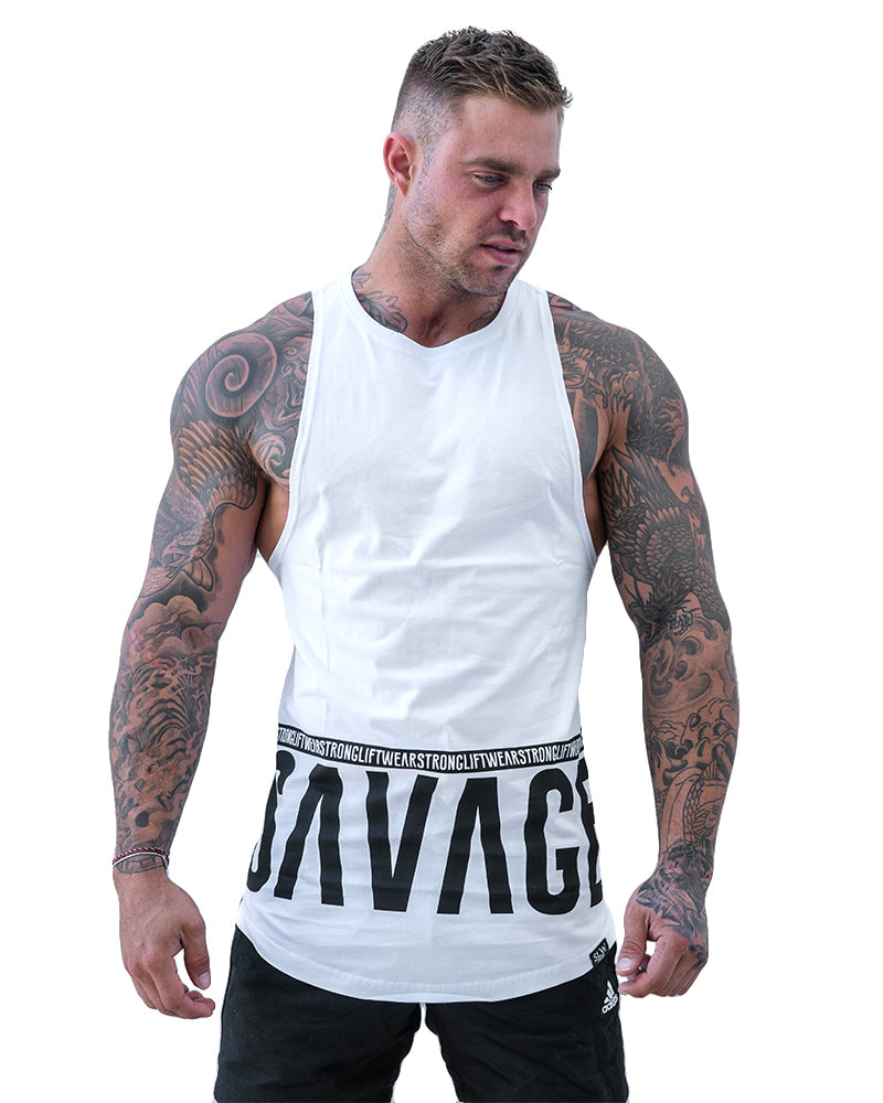 Savage Longline Boulder Sleeveless- White