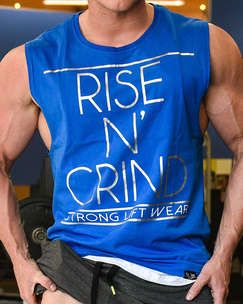 Rise N' Grind Sleeveless Tee - Blue - CoolTech