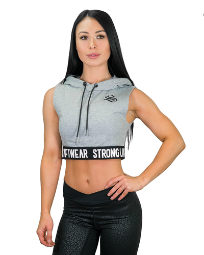 Ladies Signature Cropped Hoodie- Grey