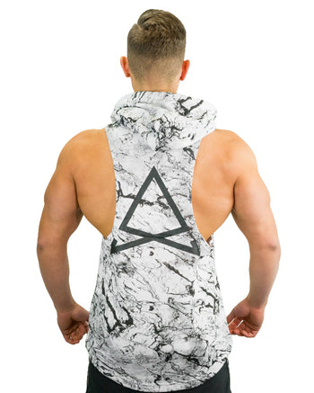 Boulder Sleeveless Hoodie - White Marble