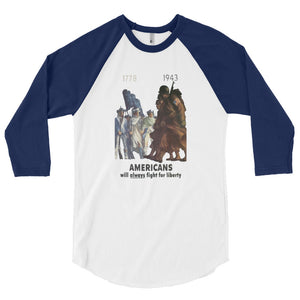 Americans Will Always Fight for Liberty Baseball Jersey - Blue Sleeves - MiseryIncorporated