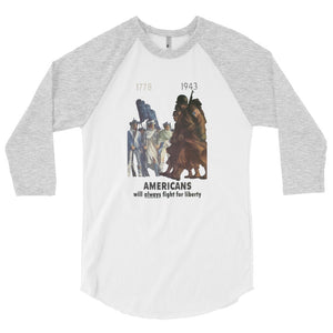 Americans Will Always Fight for Liberty Baseball Jersey - Gray Sleeves - MiseryIncorporated