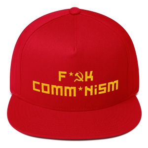 F Comm*nism Yellow On Red Flat Bill Cap - MiseryIncorporated