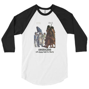 Americans Will Always Fight for Liberty Baseball Jersey - Black Sleeves - MiseryIncorporated