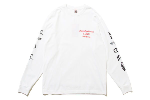 "BlackEyePatch ""LOGO ARCHIVES L/S TEE"" (White)"