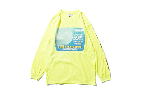"DeMarcoLab x PRETTYNICE ""INFOMERCIAL L/S TEE"" (Neon)"