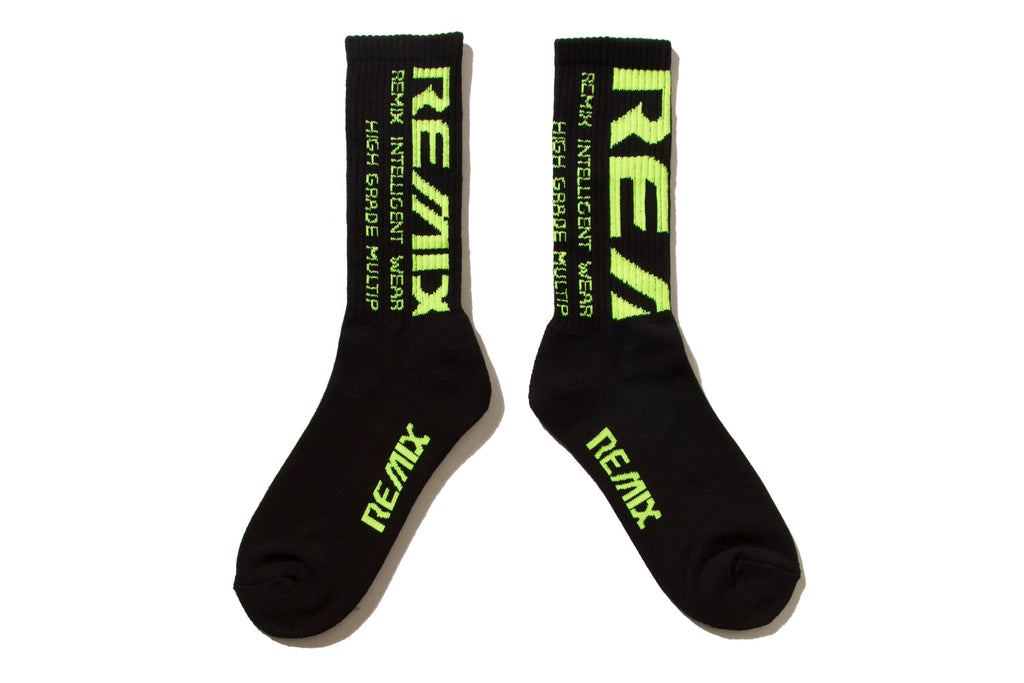 "REMIX ""BLEED CREW SOCKS"" (Black/Yellow)"