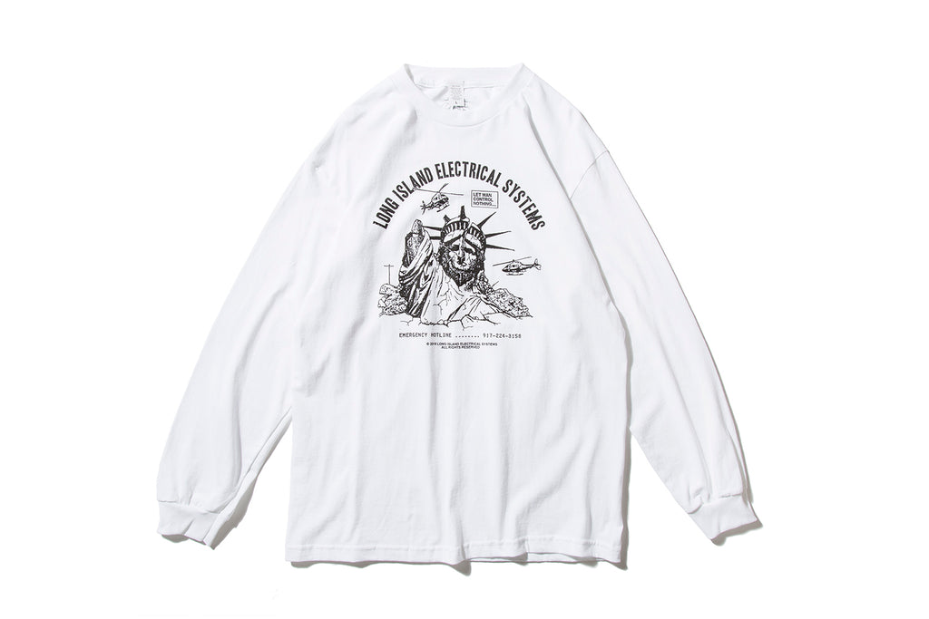 "L.I.E.S. RECORDS ""LET MAN CONTROL NOTHING L/S TEE"" (White)"