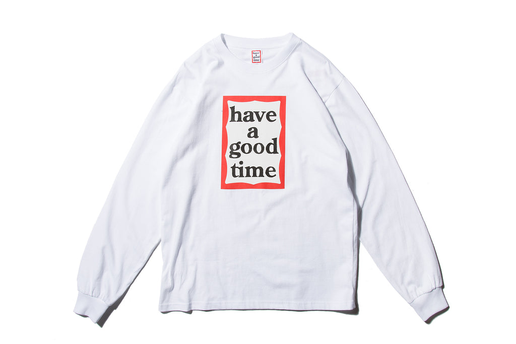 "have a good time ""FRAME L/S TEE"" (White)"