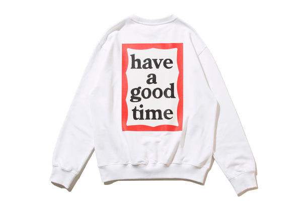 "have a good time ""BACK PRINT FRAME CREWNECK"" (White)"