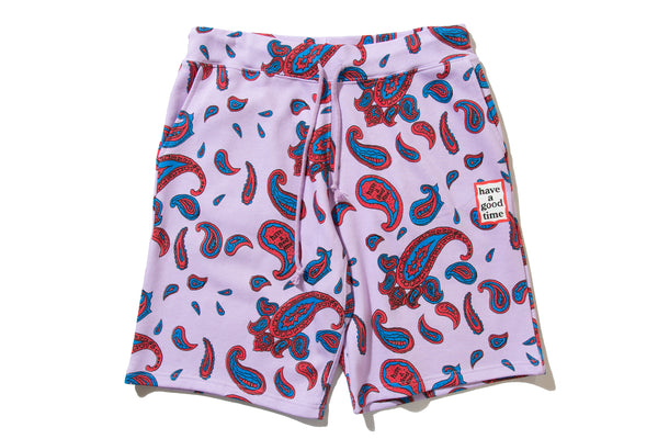 "have a good time ""PAISLEY MINI FRAME SWEAT SHORTS"" (Purple)"