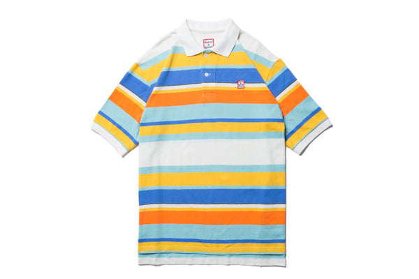 "have a good time ""COLORFUL BOARDER S/S POLO SHIRT"" (White)"