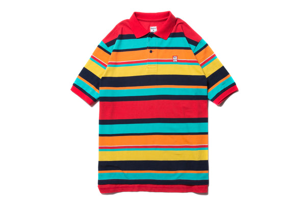 "have a good time ""COLORFUL BOARDER S/S POLO SHIRT"" (Red)"