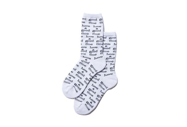 "have a good time ""LOGO ALL OVER SOCKS"" (White)"