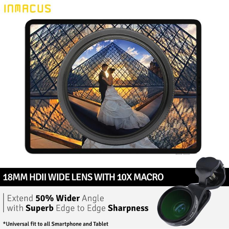 Inmacus Universal 18mm HDII PRO Wide Macro Lens for Tablet Smartphone Laptop Desktop