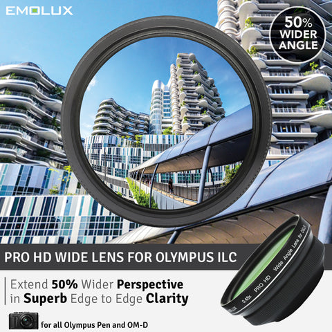 [For Olympus PEN & OM-D] Emolux PRO HD Scenic 0.45x ULTRA Wide Converter Mirrorless Lens (37mm)