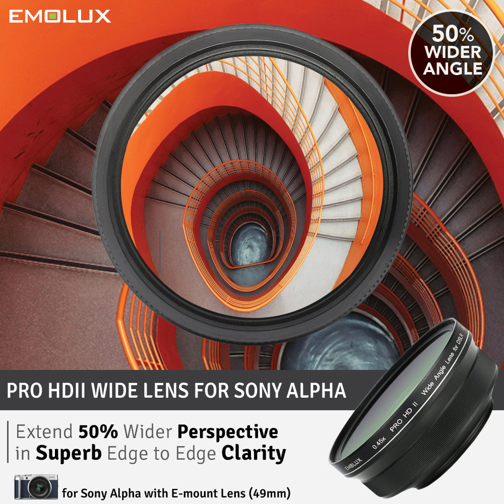 [For Sony Alpha] Emolux PRO HDII Scenic 0.45x ULTRA Wide Converter Mirrorless Lens (49mm)