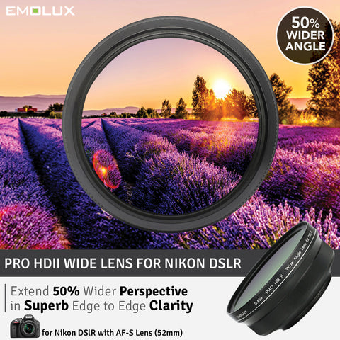 [For Nikon DSLR] Emolux PRO HDII Scenic 0.45x ULTRA Wide Converter DSLR Camera Lens (52mm)