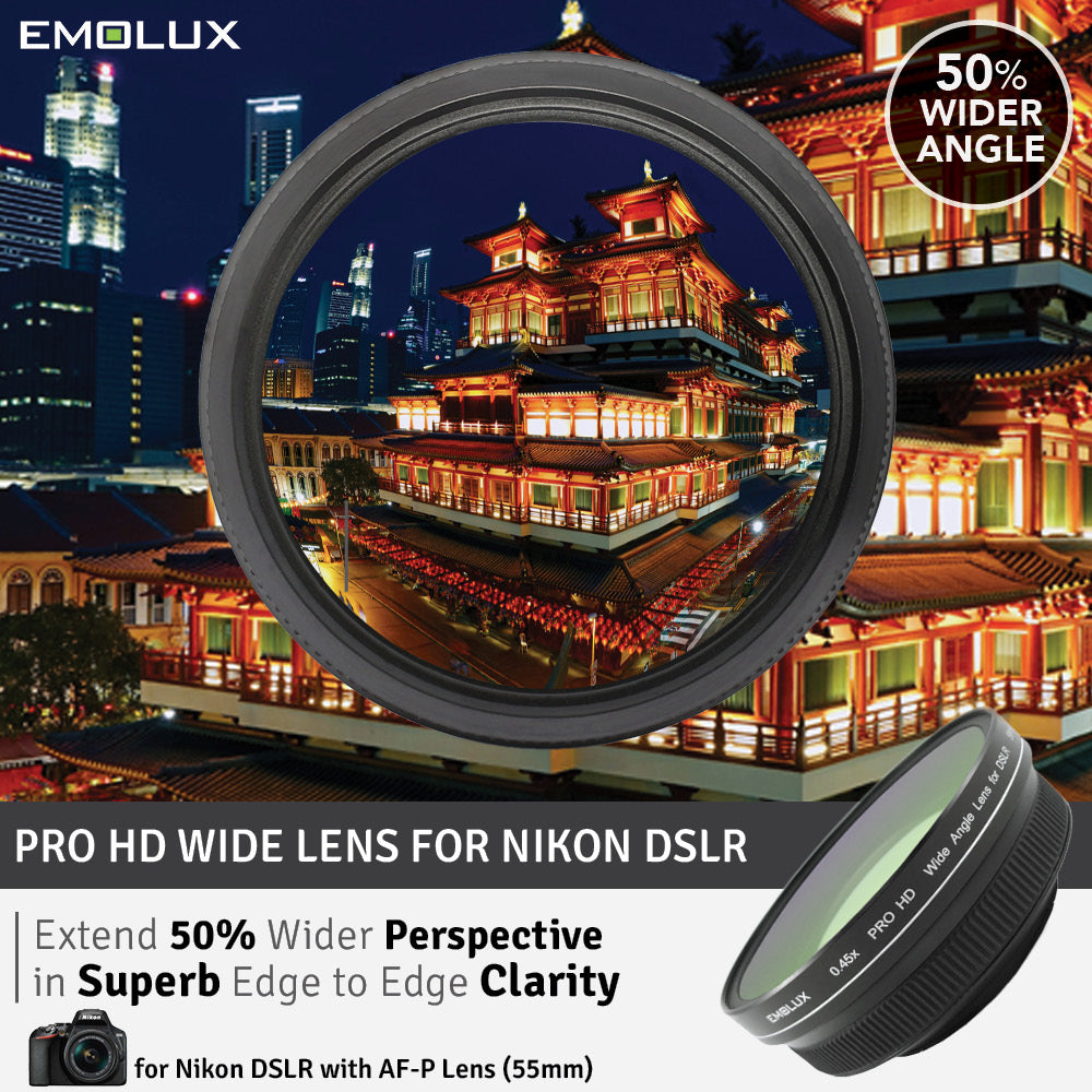 [For Nikon DSLR] Emolux PRO HD Scenic 0.45x ULTRA Wide Converter Lens for Nikon DSLR (55mm)