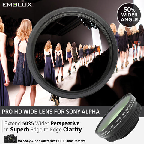 [For Sony Alpha] Emolux PRO HD Scenic 0.45x Ultra Wide Converter Lens for A7 A6000 series (55mm)