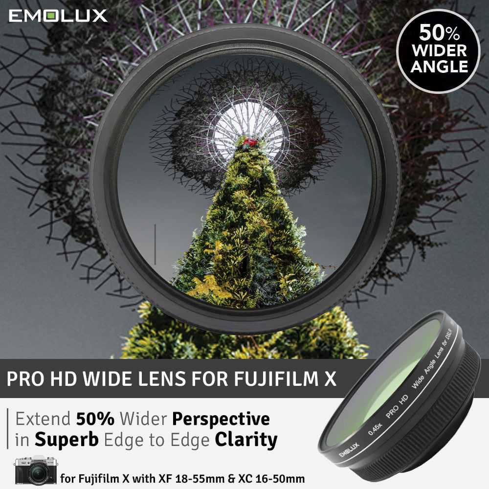 [For Fujifilm X] Emolux PRO HD Scenic 0.45x ULTRA Wide Converter Mirrorless Lens (58mm)