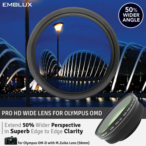 [For Olympus OM-D] Emolux PRO HD Scenic 0.45x ULTRA Wide Converter Mirrorless Lens (58mm)