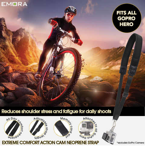 Emora Extreme Comfort Neoprene Action Camera Shoulder Strap for GoPro Hero and DJI Osmo Action