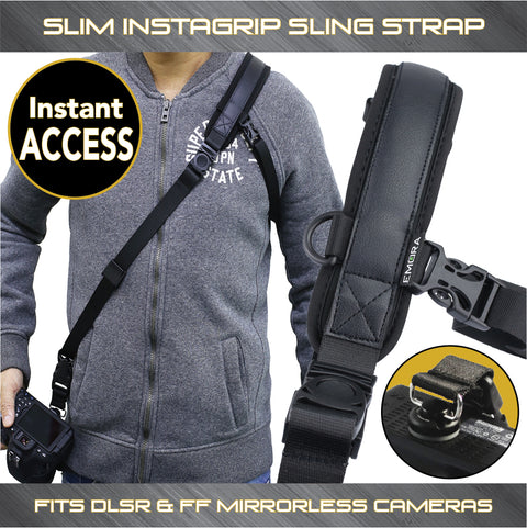 Emora SLIM INSTAGRIP Neoprene Quick Access Sling Shoulder Strap for full frame mirrorless and compact DSLR cameras