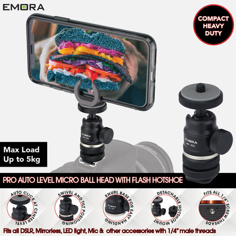 Emora PRO Compact Heavy Duty Aluminium Micro Ball head with hotshoe adaptor and dual ring for Vlog