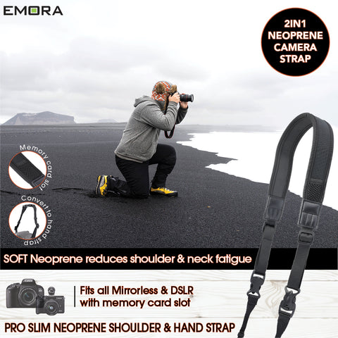Emora PRO SLIM 2 in 1 Neoprene Camera Shoulder and Hand Strap with SD memory card slot for mirrorless and DSLR cameras (Black)