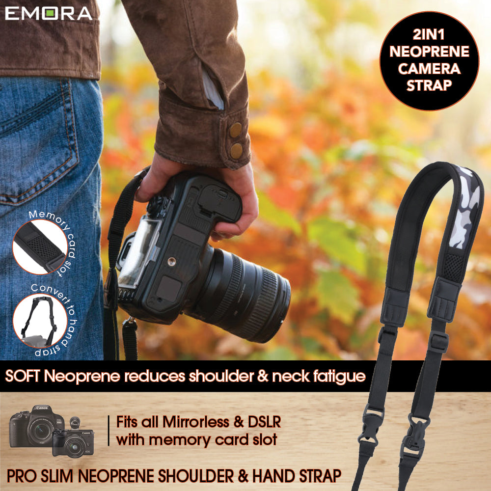 Emora PRO SLIM 2in1 Neoprene Camera Shoulder and Hand Strap with SD card slot for mirrorless (Camo)