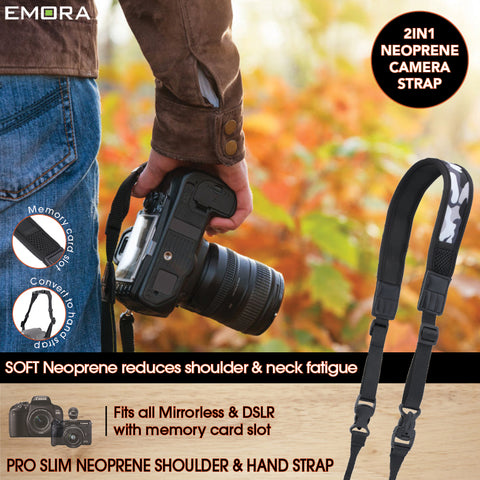 Emora PRO SLIM 2 in 1 Neoprene Camera Shoulder and Hand Strap with SD memory card slot for mirrorless and DSLR cameras (Camo)