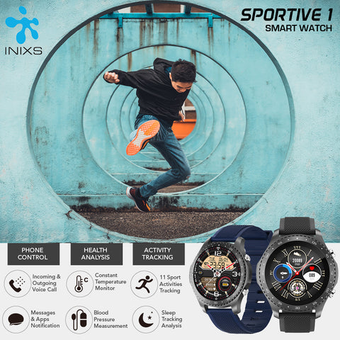 INIXS Sportive 1 Smart Health Watch with Voice Call App Notification Thermometer Blood Pressure Sp02 Pedometer Multi Sport Music for IOS and Android