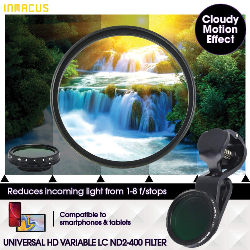 Inmacus Universal Digital HD Variable ND 2-400 Camera Lens Filter for Apple iPhone iPad Samsung Pixel Huawei Oppo Android smartphones and tablets