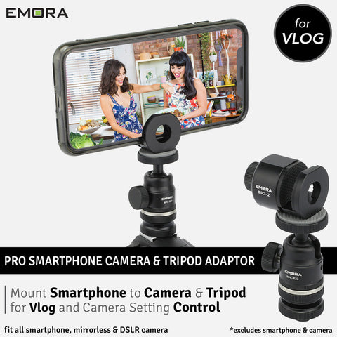 Emora PRO Aluminium Smartphone to Camera and Tripod Mounting Kit for Vlog Live Stream