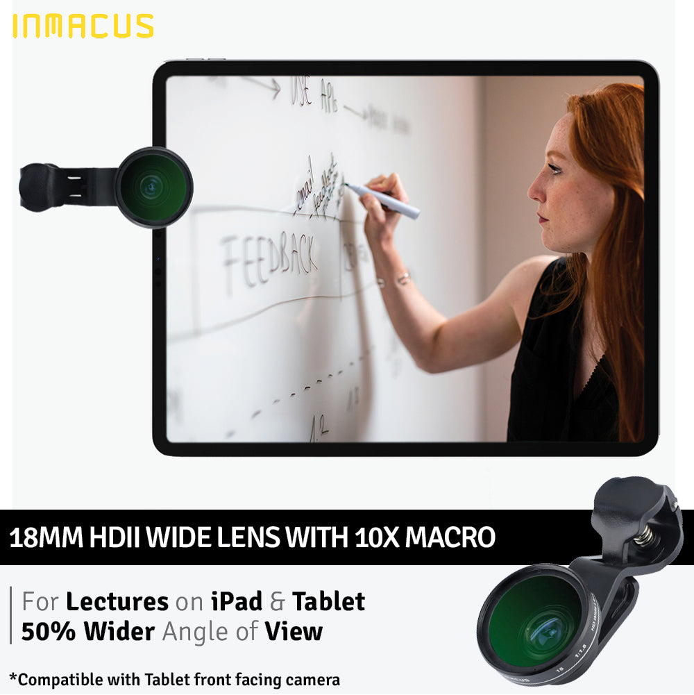 [For Video Conferencing] Inmacus Universal 18mm HDII PRO Wide Angle Lens and Macro Kit for Desktop Laptop Tablet Smartphone iPhone iPad iMac Macbook Microsoft Surface Asus Acer Dell HP front facing camera