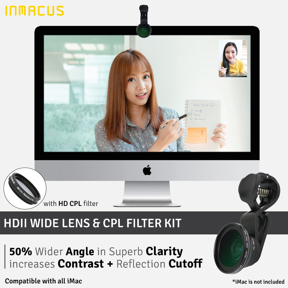 [For iMac MacBook iPad] Inmacus HDII PRO Video Conference Wide Lens with 10x Macro and CPL Kit